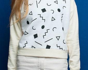 Squiggle white handmade sweatshirt