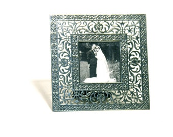 French Wedding Picture-Openwork Metal Frame-Square Frame-Steel Lace Frame-1960-Made in Ireland-Art Nouveau Style-Metal Art