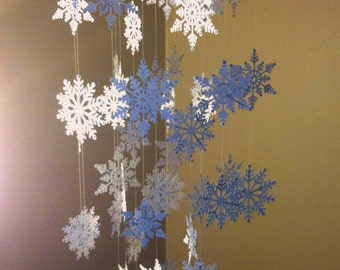 White Snowflake Mobile with Silver Accents, Perfect for Holiday Home Decor, Christmas Decor, Winter Decor, Christmas Gift, Holiday Gift
