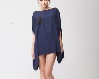Asymmetric Oversized Blouse/Black tunic/Oversized blue blouse/Oversized top