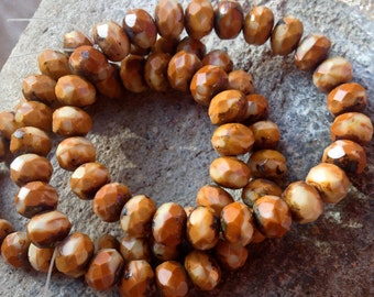 Czech Artisan 6 x 9 mm Faceted Rondelle Picasso Beads--Rusty Orange and Bone/Beige with Picasso Edges - 25