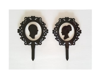 Cameo Silhouette Wedding Cake Toppers, Black and White Bride and Groom Acrylic Cake Topper [CT55]