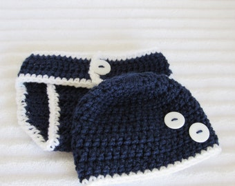 Navy White Diaper Cover Set, Newborn Photography Prop, Button Accent, Handmade Crochet Yarn, Baby Boy, New Baby, Cute Photo Prop, Nautical