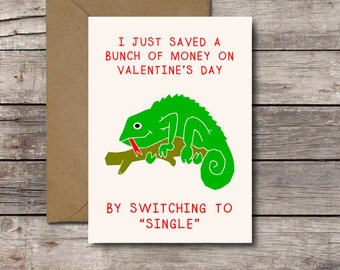 Funny Anti-Valentine Card for Singles / I Just Saved a Bunch of Money by Switching to Single / Singles Awareness Day // Printable Download