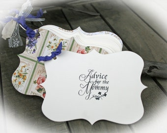 Garden Baby Shower Games   Advice for the Mommy   Baby Shower Idea   Baby Shower Decorations   Ivory Cardstock-Garden Covers- Ribbon Choice