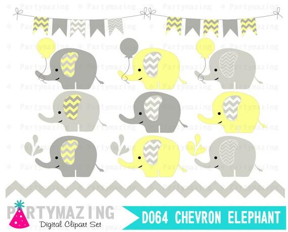 Yellow Baby Elephant Clipart Set Grey Chevron Shower
