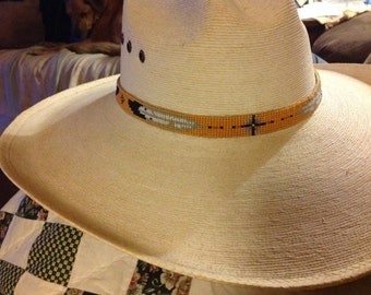 """Hand loomed beaded hat band, """"Yellow Eagle Feather"""""""