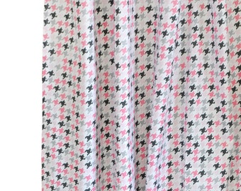 Pink & Gray Houndstooth Nursery or Girl's Room Curtain Panels | Paper Moon Drapes