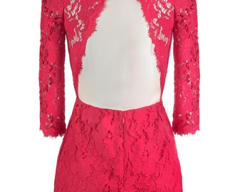 Allegra Lace Backless Vintage Inspired Dress //Red //Long Sleeve