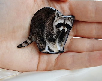 cute animal brooch , Raccoon brooch  , raccoon gift her , women animal brooch ,