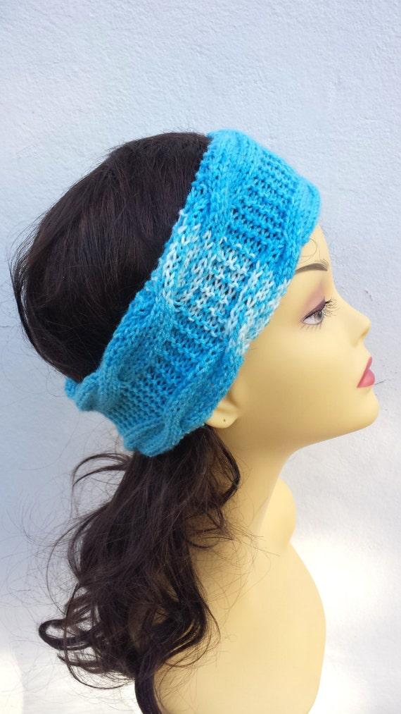 Sky Blue Hand Knitted Headband, Hair Accessories Sky Blue knitted headband, cable knit Sky Blue hairband, women knitted headband