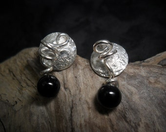 Sterling silver reticulated with onyx earrings