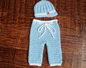 Crochet Baby Boy Hat and Long Pants Set, Photo Prop (0-3 Months)