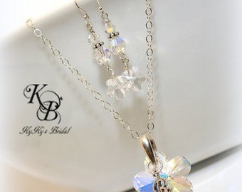 Flower Girl Jewelry Set, Personalized Flower Girl Gift, Flower Girl Jewelry, Flower Girl Necklace, Flower Girl Earrings, Little Girl Jewelry