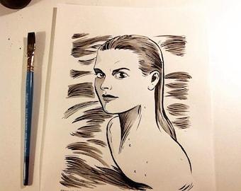 Grace Kelly original ink portrait drawing