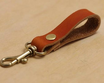 Ladies Leather Keychain; Womens Key Fob; Leather Key Fob; Leather Lanyard; Tan Leather Keychain; Womens Key Chain