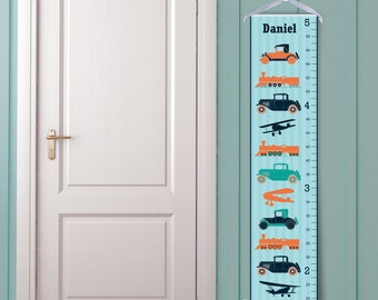 Vintage Transportation Personalized Children's Growth Chart