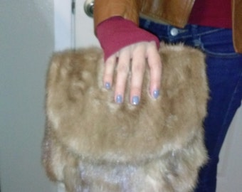 New  blonde mink and silk clutch, real mink bag, real fur, recycled fur,  purse, handmade, unique, honey color, light blue, gold, beautiful