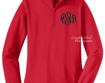 Monogrammed Womens Quarter Zip Sweatshirt-Red with Black-- zip up sweatshirt fleece jacket with several color options