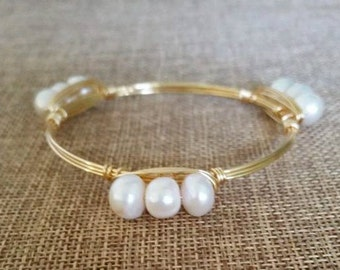 The Pearl Wire Bangle