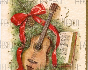 Retro Guitar Pine Bough Music Christmas Card #364 Digital Download