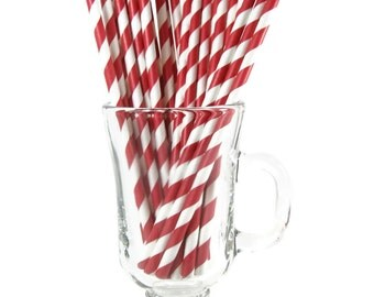 25 Red Stripe Paper Straws | Red Paper Straws | Red Party Straws | Red Drinking Straws | Stripe Paper Straw | Holiday Paper Straw