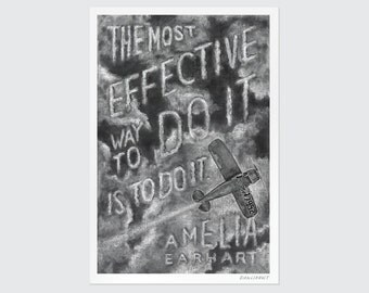"Amelia Earhart |  Print Chalkboard Quote ""The most effective way to do it is to do it."" Pilot, Aviator, Plane, Solo Flight, Poster ( S,L,XL)"