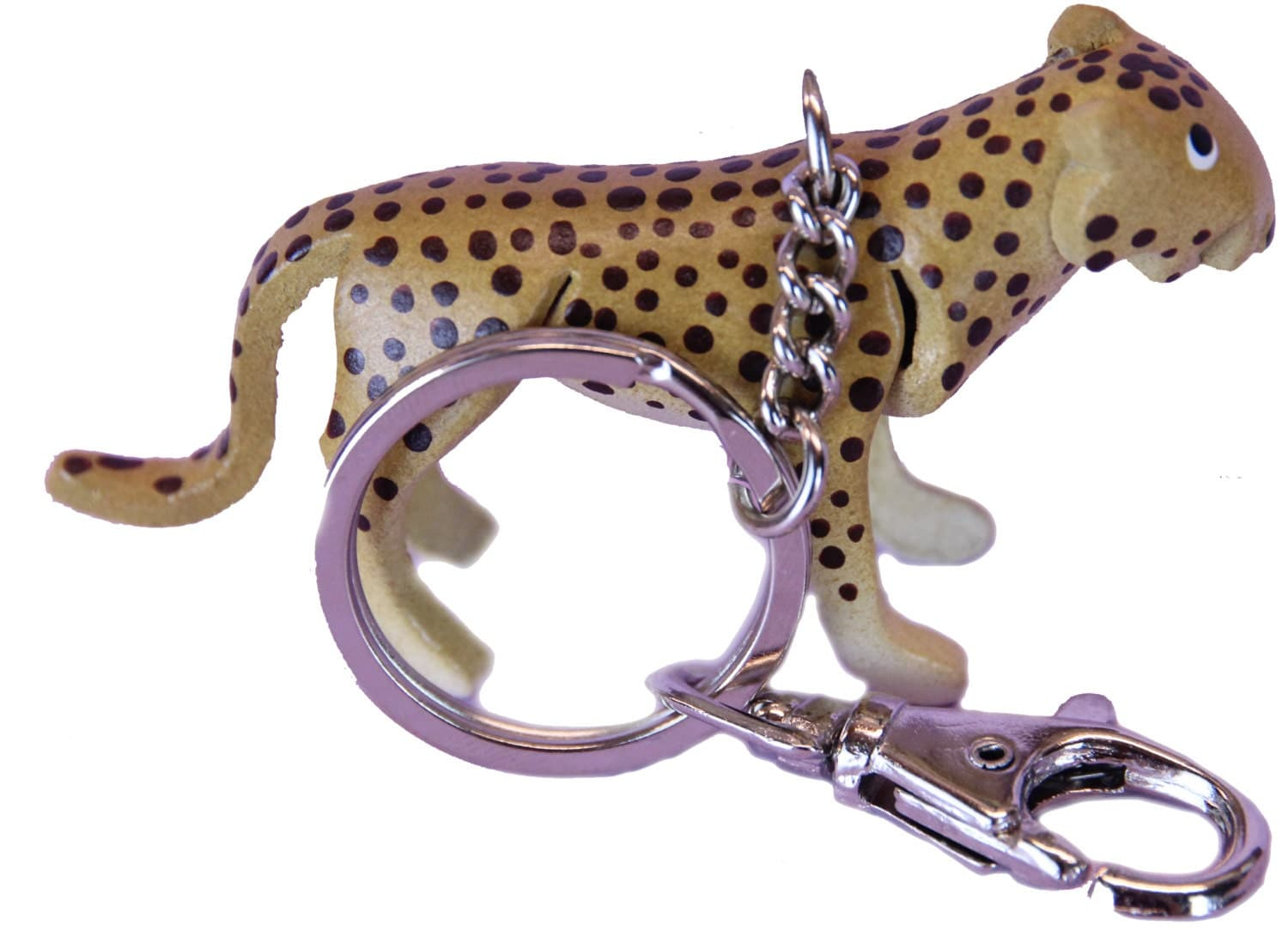 Keychains Lightupcircuitboardkeychain Cheetah Spotted Cat Wild Cats Keychain Fob Leather Charm Keyring Holder