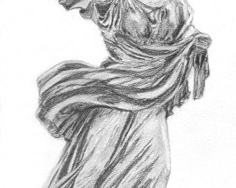"Original pencil drawing of statue THE CHIARAMONTI NIOBID 9x12"""