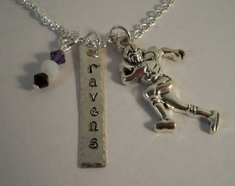 Ravens, Football, Hand Stamped Charm Necklace