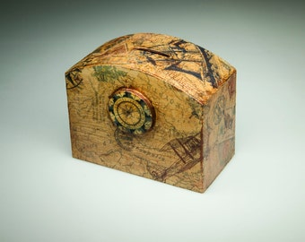 Travel themed chest money box - wood,  decoupaged in brown