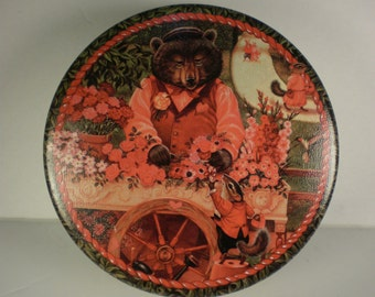 Flower Bear and Cart Tin by Lisa Nilsson