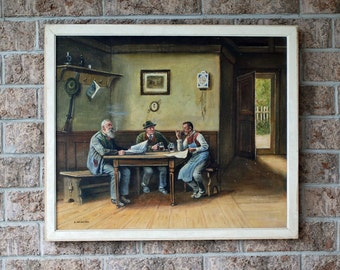 German painting on canvas by E. Neustien