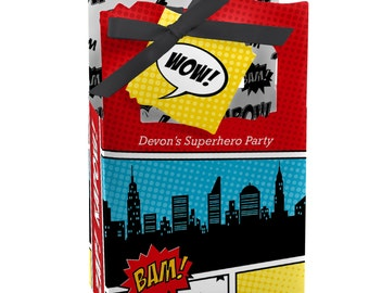Superhero Favor Boxes - Custom Baby Shower and Birthday Party Supplies - 12 Count