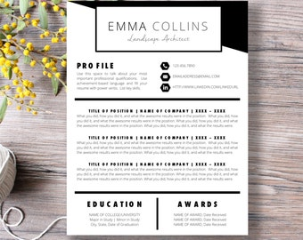 PROFESSIONAL RESUME TEMPLATE | 5 Template Pack |  Microsoft Word  | Cover Letter, Thank You, References, Unlimited Pages | Instant Download