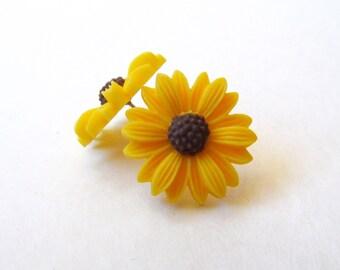 Sunflower earrings (post, resin, yellow flower stud earrings)