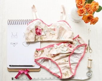 Bra and Panties Sewing Pattern Set for Ohh Lulu Bambi Bralette and Jane Panties for Woven Fabrics Instant Download