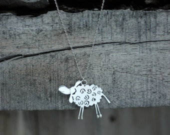 Silver Sheep Necklace-Animal Jewelry-Sheep Jewelry-Sterling Sheep Necklace-Sheep Pendant