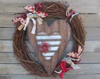 "18"" Valentines Day Wreath V-day Wreath Heart Grapevine Wreath Red Flower Wreath Heart Burlap Wreath Heart Decor Love Wreath Rustic Wreath"