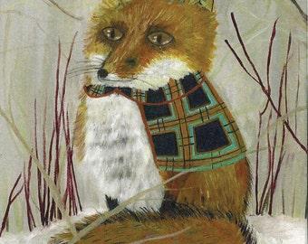 Fox Art Print From Original Fox Oil Painting/ Red Fox Art Print/ Red Fox Picture/ Red Fox Portrait/ Fox Print, Mr. Stately, Fox by Amy Tom