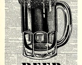 Beer Art Print. Vintage book page art print. Print on book page.