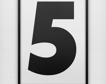 Chubby Number art print, black and white bold sans serif typography wall poster
