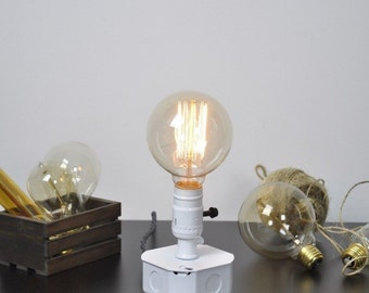 Desk Table Lamp, Industrial Electrical Box, White Grey Cord, Vintage, Antique Bulb, Plug In