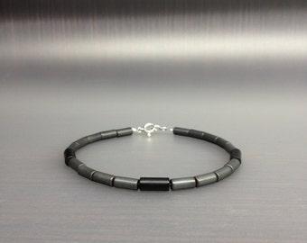 Mens bracelet mat Hematite and Onyx.Modern/Genuine Gemstone/Designer Bracelet/Healing Stones/Men jewelry/Men Bracelet/Black Bracelet.