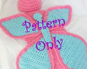 Free Download Crochet Butterfly Pattern : PATTERN!! Crochet Baby Butterfly Cape and Hat for Newborn ...