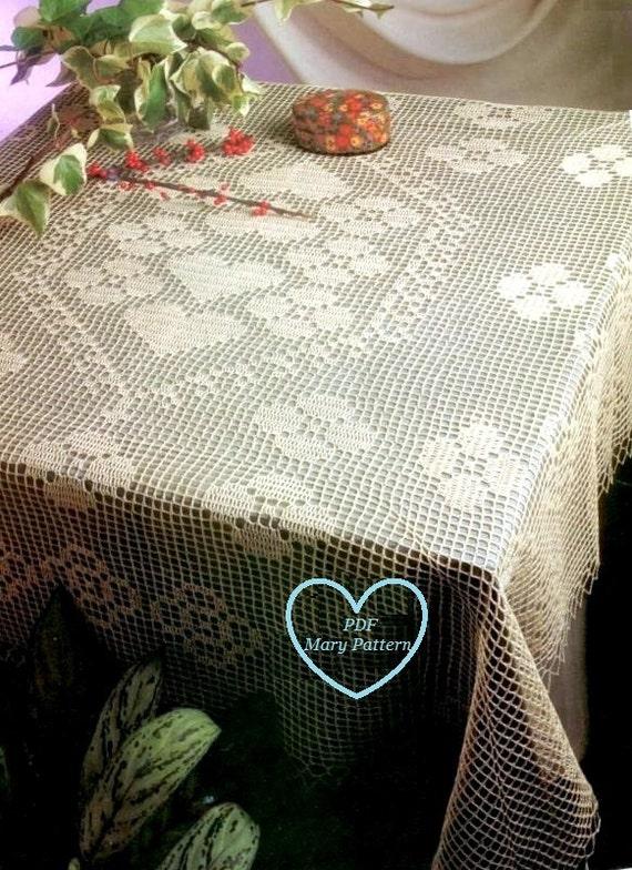 Pdf crochet pattern table cover crochet doily home - Crochet mural vintage ...
