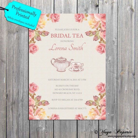 bridal tea shower baby shower spring invitation antique flowers