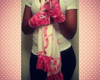 Pink RIbbon Breast Cancer Fingerless Gloves