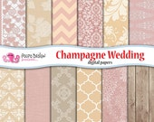 Champagne wedding digital papers. Commercial & personal use. Instant download. Bridal paper classic classy cream scrapbook lace chic texture