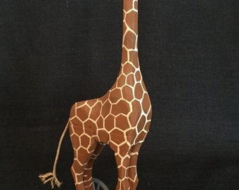 Hand Carved Wooden Giraffe